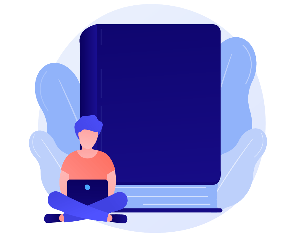 Creative art of a person sitting with laptop in hand